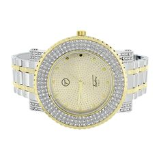 2 Tone Mens Watch Gold White Cubic Zirconia Techno Pave