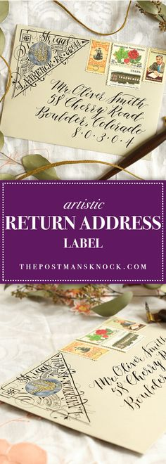 In this tutorial, you'll learn how to make a beautiful, artistic return address in the upper left corner of any envelope! Envelope Lettering, Calligraphy Envelope, Envelope Art, Envelope Design, Calligraphy Art, Mail Art Envelopes, Addressing Envelopes, Fancy Envelopes, Letter Addressing
