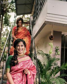 Image may contain: 2 people, outdoor Kerala Bride, South Indian Bride, Indian Bridal Hairstyles, Wedding Hairstyles, Saree Color Combinations, Bridal Bun, Indian Bridesmaids, Indian Colours, Telugu Wedding
