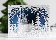 Memory Box Sleighing in a Winter Wonderland Bridge Card… Making Greeting Cards, Holiday Cards, Christmas Cards, Christmas Tree, Box Cards Tutorial, Cabin Crafts, Bridge Card, Winter Karten, Papier Diy