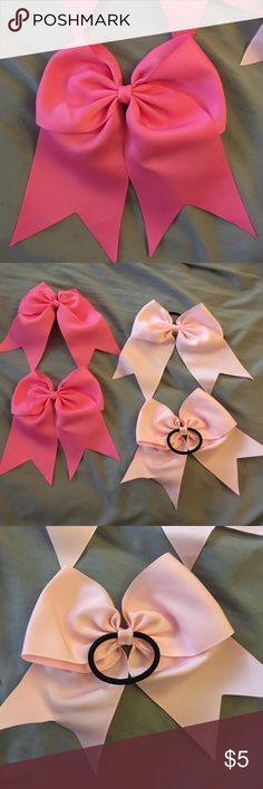 Hair tie bows: large Large cheerleader type bows with hair ties attached. 2 light pink and 2 dark pink. Brand new, never worn or used. Accessories Hair Accessories