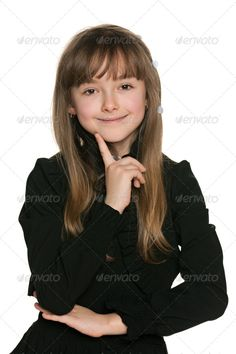 Smiling shy girl in black ...  adorable, alone, beautiful, black, caucasian, charming, cheerful, child, childhood, close-up, closeup, cut out, cute, emotion, enjoyment, european, fashion, finger, front, gesture, girl, hand, happiness, happy, indoor, isolated, joy, kid, lovely, one, people, person, pleasure, portrait, positive, positivity, pretty, shy, single, smile, stand, studio, white, young