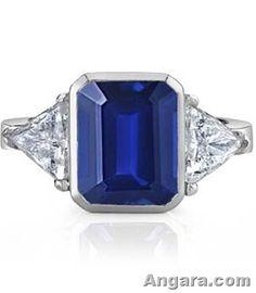 Emerald Cut Sapphire and Trillion Diamond Three Stone Ring