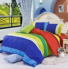 Rainbow Twin Full Queen King Size 4 pcs bedding set bedclothes sets Home Textile bed sheet quilt cover duvet cover pillowcase(China (Mainland))