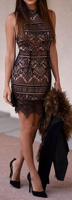 Charlotte Russe Dress, Heels | Dynamite Faux Fur Scarf | BCBG Jacket | Pour La Victoire Bag | Coach watch