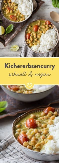 Vegans for those in a hurry: Spicy chickpea curry Chickpeas are not just healthy . - Vegans for those in a hurry: Spicy chickpea curry Chickpeas are not only healthy, they are also del - Tea Recipes, Veggie Recipes, Vegetarian Recipes, Healthy Recipes, Pasta Recipes, Breakfast Recipes, Breakfast Healthy, Vegetarian Salad, Snacks Recipes