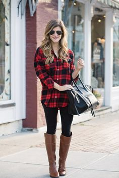 what to wear with leggings - plaid tunic button up and riding boots for a casual, laid back leggings outfit