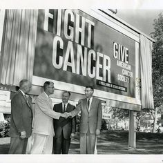 "#TBT to when my dad Erle Blunden,(in the light suit) unveiled this ""Fight Cancer"" billboard for the @American Cancer Society in 1960. His…"