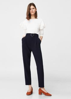 High-waist broek met riempje | MANGO