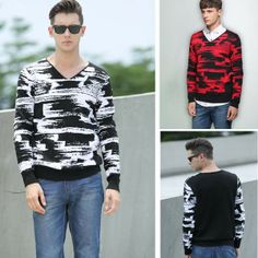 Men's Chiffon Round Neck Long Sleeve Knitwear Sweater via martEnvy. Click on the image to see more!