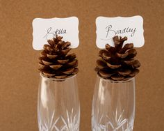 Rustic Place Cards, Wedding 10 Woodland Seating holder Table Rustic Country Theme Favor Autumn Fall Winter Christmas Brown Wood Masculine. $20.00, via Etsy.