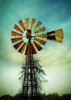 Old windmill w awesome colors all around.