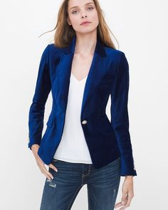 Plush blue velvet, sharply tailored, peaked lapels and golden designer-inspired buttons…a blazer so gorgeous you'll want to live in it forever. Team it with a white woven cami and destructed sequin skinny jeans for a trendy holiday look. Peek inside for details like white contrast piping.   Velvet blazer jacket in blue depths Peaked lapels Flap pockets Single-button front Button sleeve detail Goldtone hardware Lined Lightly padded shoulders Cotton/tencel/spandex. Machine wash cold. ...