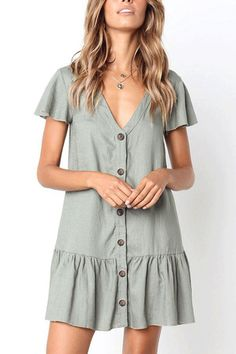 V Neck Single Breasted Plain Short Sleeve Casual Dresses 78fde9c0d3d5
