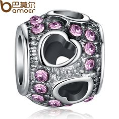 Luxury 925 Silver Heart Purple Crystal Charm with Fit Pandora Bracelet Necklace Pendant Original Jewelry PA5282