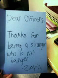 """""""Making thank you cards to policemen and firemen with my students. This one is too cute for words."""""""