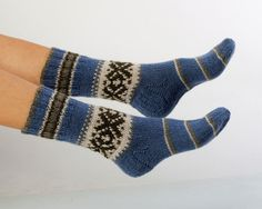 """MEN SOCKS  """"Great adventures""""  Hand knitted ornamented socks made from natural wool yarn. Great for hiking"""