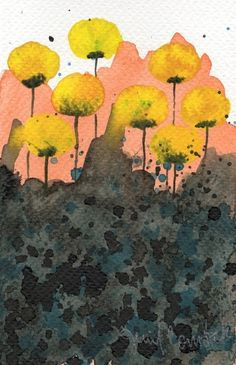 yellow flowers watercolor