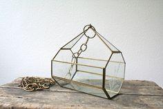 vintage vivarium hanger / 70s brass & glass planter. $41.00, via Etsy.