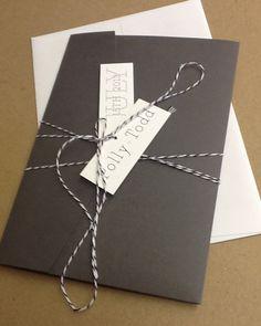 Grey Pocketfold - Wedding Invitations, rsvp card, envelopes and twine & tages. $5.00, via Etsy.