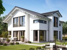 Fantastic 161 V4 • Holzhaus von Bien-Zenker • Jubiläums-Aktionshaus mit 2-geschossigem Giebelerker und Satteldach-Querhaus • Jetzt bei Musterhaus.net informieren!