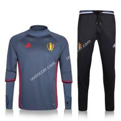 2016-17 Belgium Gray Thailand Soccer Tracksuit