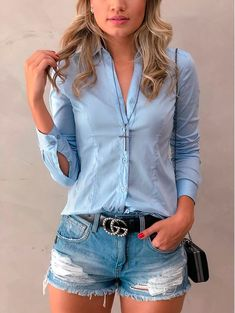 Best Casual Outfits, Summer Outfits, Cute Outfits, Diva Fashion, Denim Fashion, Jean Short Outfits, Short Jeans, Look Camisa Jeans, Look Jean