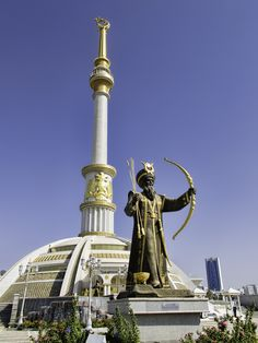 https://flic.kr/p/qu9gA3 | 20140924_Turkmenistan_0091 Ashgabat | Scattered around the Monument to the Independence of Turkmenistan are statues of 27 historical Turkmen heroes.  This statue depicts Oguz Khan, the legendary founder of the Turkmen people.  Historically, the notion of statehood was an alien concept to the nomadic Turkmen.  The Bolsheviks took Ashgabat in 1919.  Initially part of the Turkestan oblast (province), the region became the Turkmen SSR in 1924.  Turkmenistan reluctantly…