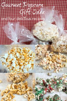 Four delicious gourmet popcorn recipes -- Chili Cheddar Popcorn, Cookies and Cream Popcorn, Crunchy Caramel Popcorn, and Cookie Butter and Jelly Popcorn
