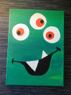 Items similar to Acrylic Green Monster Painting on Etsy Halloween Canvas, Halloween Painting, Halloween Crafts For Kids, Halloween Art, Magic Theme, Class Art Projects, Art Activities For Toddlers, Kids Canvas Art, Baby Art