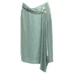 Vintage 90's Issey Miyake Celadon Green Skirt with pleated front detail, Sz. 8