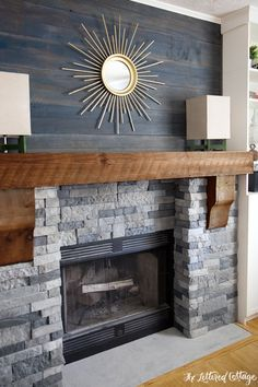 """Airstone Faux Stone Fireplace Makeover - Spring Creek colored stones (looks like real stone but weighs 75% less), above mantel old barnwood planks are stained with watered-down Olympic's blue-gray """"Amersterdam"""" and Behr's """"Atlantic"""" stain"""