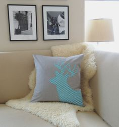Deer Pillow Cover, Deer Head Antlers, Modern Geometric Moroccan Tile White, Aqua Blue Stag Appliqué Silhouette, Feather Gray, Woodland 18x18 on Etsy, $69.00