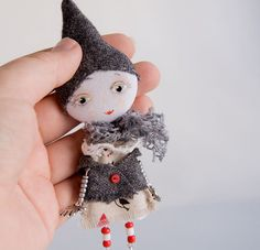 Gnome  Art doll brooch mixed media collage  Free by miopupazzo