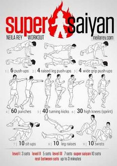 Super Saiyan Workout / works: shoulders triceps core lower back glutes chest quads front hip flexors calves lower bas abs later abs Hero Workouts, Gym Workout Tips, Workout Challenge, Workout Fitness, Neila Rey Workout, Kickboxing Workout, Cardio, Hiit, Naruto Workout