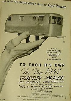 Ad for the 1947 Spartan Manor