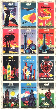 Middle East Airlines - Stamp Montage