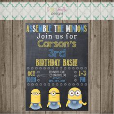 Minion Invitation Minion Birthday Party by punkydoodlekids Minion Invitation, Invitation Wording, Invitations, Minion Birthday, Minion Party, 3rd Birthday Parties, Birthday Bash, Doodle Designs, Kid Names