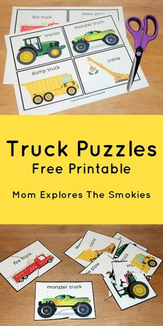 "These cute truck puzzles for kids can be customized for difficulty and are based on the book ""Where Do Diggers Sleep at Night?""."