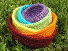 Crochet nesting baskets. I may do these in black, tan, cream for the library room.