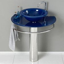30 Bathroom Pedestal Vanity Glass Vessel Sink Set kokols bathroom vanity pedestal and frosted glass vessel sink