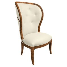 Mid Century Swedish Art Deco Occasional Chair - With chic detailing and lavish lines, the Mid Century Swedish Art Deco Occasional Armchair is a triumph of sophistication. Composed from solid Beechwood, with or without Zebrawood veneers, this piece features a fully upholstered or exposed cane back. Available with or without French nails. 4 yards of customer's own material required.