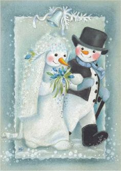 Kaarina Toivanen - looks like no cold feet here! Vintage Christmas Cards, Christmas Love, Christmas Balls, Christmas Snowman, Vintage Cards, Christmas And New Year, Christmas Crafts, Christmas Ornaments, Snowman Snow Globe