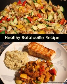 Yummmm healthy ratatouille recipe served with swordfish and faux-tatoes.
