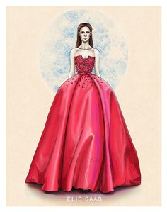 """Elie Saab haute couture SS14"" A new fashion illustration by Tania Santos"