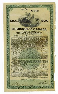 """Dominion of Canada """"Canada's Victory Loan 1918"""" Fifth War Loan - Archives International Auctions"""