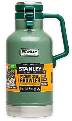 Classic Vacuum Insulated Growler by Stanley. Features vacuum insulated body and foam insulated lid to keep beer cold for hours. Made of stainless steel and BPA free. The heavy duty handle ma… Beer Brewing, Home Brewing, Red Wine Stains, Thing 1, Craft Beer, Things That Bounce, Classic, Stanley Cooler, Camping