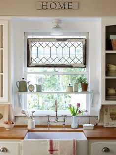 8 Ways to Dress Up the Kitchen Window {without using a curtain} Like this perfect shelf!