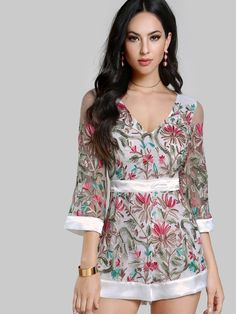5f642339a55 Floral Embroidered Sheer Romper OFF WHITE