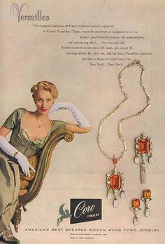1949 ad for Coro's Versailles line of jewelry